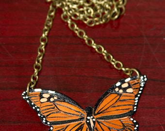 Leather Monarch Butterfly Necklace