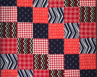 "Modern Baby Boy Baby Quilt Top 33""  Patchwork DIY Unfinished   Navy Anchors Red Orange Grey Chevron Nursery Gift"