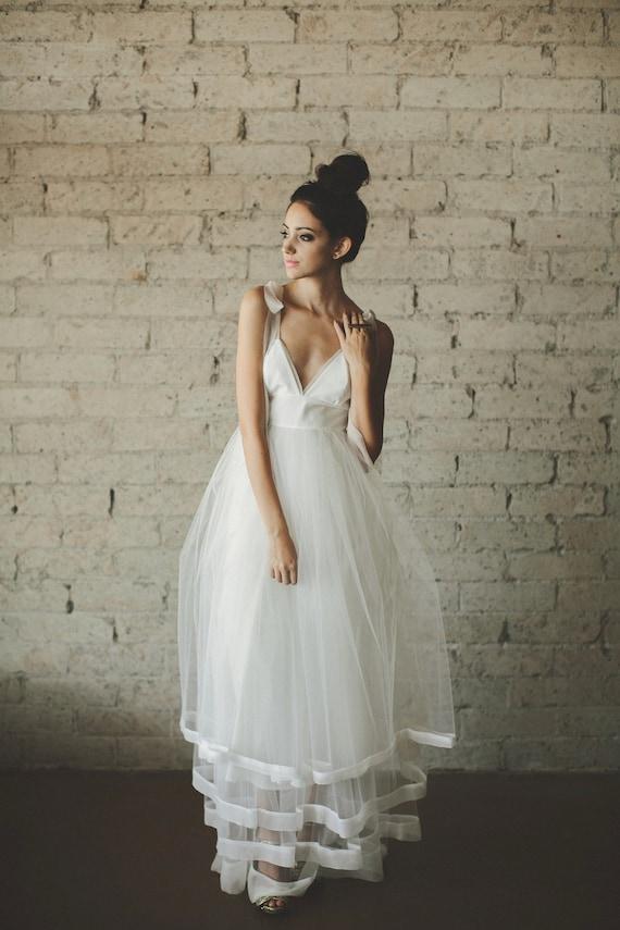 Deep V Neck Floor Length A Line Tiered Tulle Wedding Dress