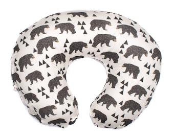 Brown Bears Nursing Pillow Cover, Girl Boy Nursing Pillow Cover, Nursing Pillow Cover, Boppy Cover Bears Triangle, Minky Boppy Cover