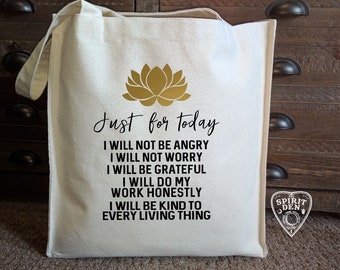 Reiki Principles Cotton Canvas Market Bag | Tote Bag | Reusable Grocery Bag | Printed Tote Bag | Reiki Healing | Reiki Crystals | Reiki Art
