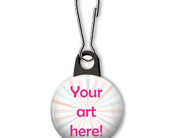 Custom zipper pull with your artwork. Personalized charm. Custom charm. Personalized zipper pull. Party favor. Business promotion.
