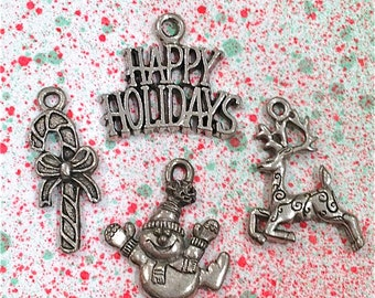 Christmas Collection 2 Charms--4 pieces-(Antique Pewter Silver Finish)--style 1011-