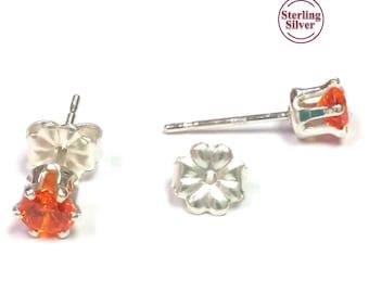 Orange CZ Sterling Silver Stud Earrings
