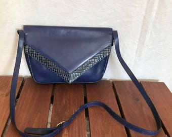 SALVATORE FERRAGAMO Great Authentic Vintage Blue Leather and Snake Trim Crossbody Bag Shoulder Bag Made in Italy