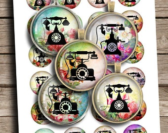 Shabby Telephones 20mm 25mm 1 inch 1.5 inch Printable Images Digital Cabochon Rounds Digital Collage Sheet - Instant Download