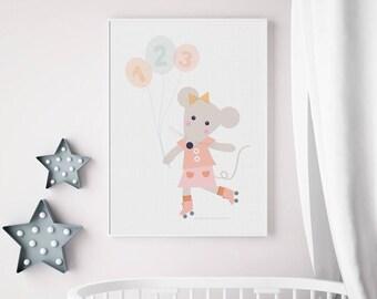Poster souris, décoration animal, chambre enfants, affiche, tableau, déco, bébé, illustration, animal, bleu, rose, décor enfants, art mural