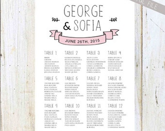 Pink and white hipster Wedding Seating Chart - Modern hipster Bridal Shower Table Seating chart - DIGITAL file!