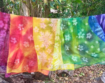 Hand Printed Nature Embossed Cotton Gauze Scarf Shawl  |  Made in Seychelles