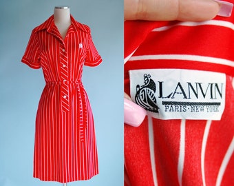 1960s 1970s Red and White Striped Lanvin Shift Dress // 60s 70s Red White Striped Designer Dress