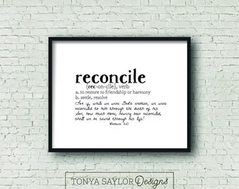 RECONCILE Definition Print, Romans 5:10, Digital Download, Defined Series, Scripture Print, Typography, Minimalist Art, Gallery Wall