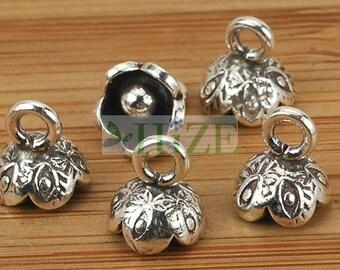 HIZE SC288 Thai Karen Hill Tribe Silver Budding Little Flower Charms 7mm (12)