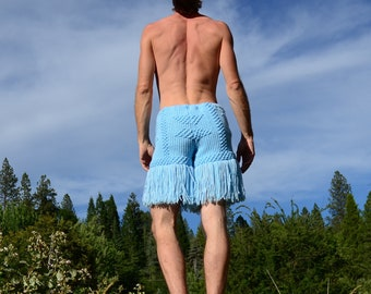 Crochet Shorts Sky Blue Snowflakes and Fringe
