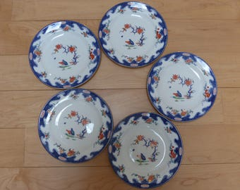 Five Vintage (1936) Royal Crown Derby Porcelain Bread and Butter Plates in an Unusual Imari Pattern with Two Quails
