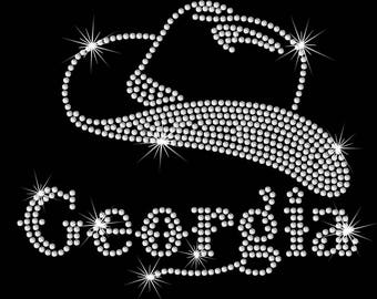 Georgia (Cinderella pageant) western theme cowboy hat iron on rhinestone transfer