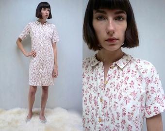 1960s Dress PETER PAN COLLAR Dress 60s Dress Cotton Dress Shift Dress 60s Midi Dress Casual Dress Day Dress Floral Dress Mod Dress