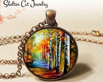 "Forrest Path Painting Necklace - 1-1/4"" Circle Pendant or Key Ring - Wearable Art Photo - Trees, Impressionist Artwork, Pathway, Walk, Gift"