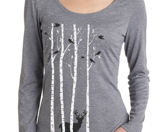 Birch Trees t-shirt, Women's long sleeve graphic t-shirt , Deer, Stag, Reindeer, Birds, Snow, Art T-shirt, Cool t-shirt