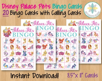 Princess Palace Pets Printable Bingo Cards (20 Different Cards) - Instant Download