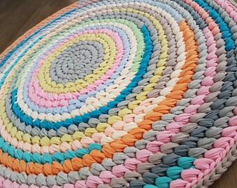 Crochet round rug, handmade rug, circle rug, living room rug, crochet floor rug, t shirt  rug, crochet rug