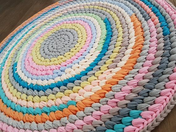 Crochet round rug handmade rug circle rug living room rug