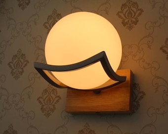 Ash Wooden Wall Lights-Ball Glass Lampshade and Wooden Base-Hallway Lights-Stairs Lighting-Night Lights-Decorative Lights-Corridor lamp