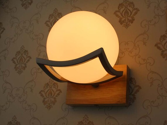 Ash Wooden Wall Lights-Ball Glass Lampshade and Wooden