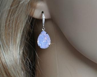Handmade Swarovski Rose Water Opal Pear Crystal Dangle Earrings, Bridal, Weddings (Sparkle-2511)