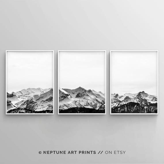 Black and white mountain print set of 3 snow mountain