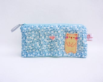 Cat pencil case, pencil case, blue flower case, makeup organiser, zipper pouch, cute school purse, teens gift, school pouch, school supply