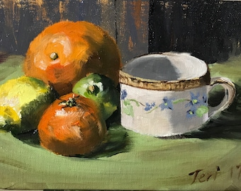 """Oil painting """"Citrus and Tea"""" size 5""""x7"""""""