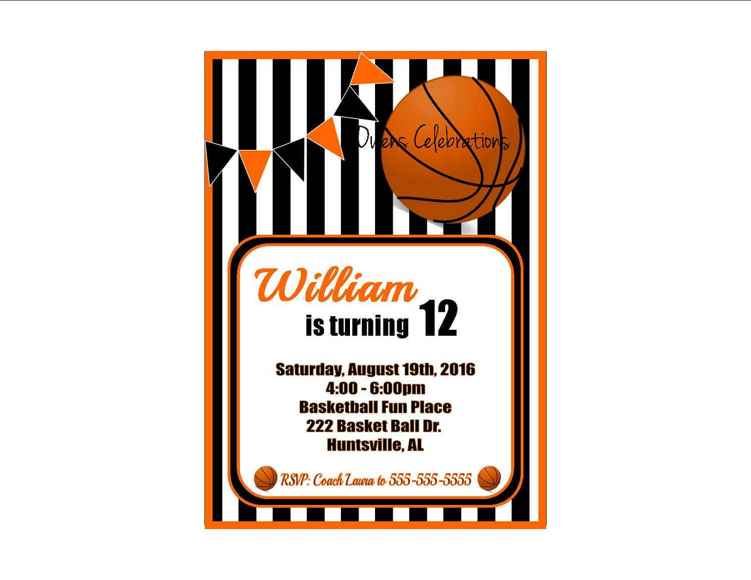 Basketball Party Invitation Basketball Birthday Invitation