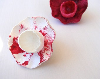 Red Paper Jewelry, Statement Ring, Paper Ring, Papier Mache Rings,  Flower Ring, Anniversary gift, Wedding gift, 1st anniversary gift