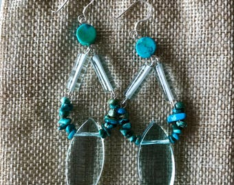 Aquamarine and Turquoise Leaf Drop Sterling Silver Earrings