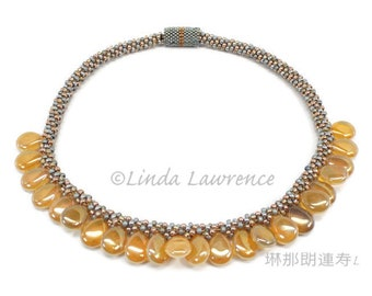 Golden Teardrops Reversible  Necklace, KUMIHIMO, BRAIDED, BEADED