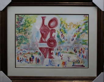 Philadelphia Love Park is original watercolors Painting Framed and Matted by Joe Barker(26x32)
