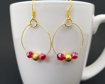 Red Crystal and Gold Loops Earrings