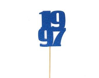 Set of 5 Custom Year Centerpiece Sticks for Reunions, Homecoming, Birthdays, 18th, 16th, 21st