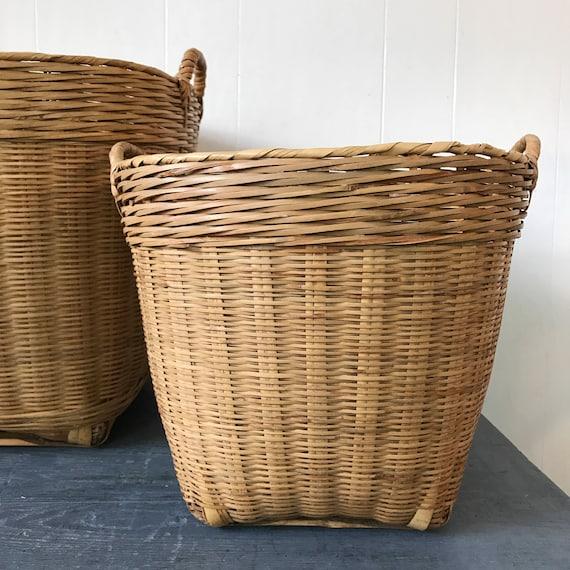large rattan basket - round woven bamboo home storage - boho planter basket