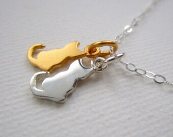 Two Cat Necklace, Two Tiny Cat Charms, Gold Cat Silver Cat Necklace, Pet Jewelry, Cat Jewelry, Gift For Girlfriend, Cat Lovers, Women