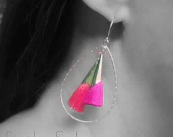 Bold Colorful Tassel Statement Earrings on gold - Coral + Fuchsia + Turquoise + Red + Cobalt + Peach - teardrop hoop dangle