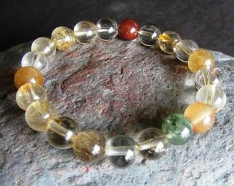 Multi Rutilated Quartz Bracelet, Rutile, Beaded Gemstone Stretch Bracelet, Jewelry, Layered, Stretch bracelet, Stack, Stackable Bracelets