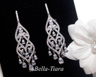 crystal chandelier earrings, bridal chandelier earrings, Swarovski crystal bridal earrings, crystal earrings, bridal earrings