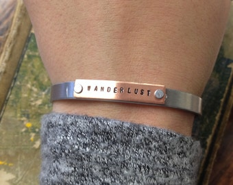 The Johnnie Bracelet - Custom Aluminum & Copper Hand Stamped Cuff