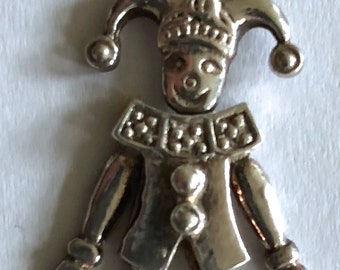 sterling silver jester clown pendant articulated charm