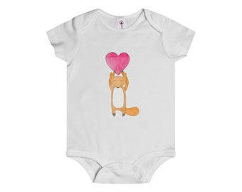 Onesie Foxy Big Old Heart Infant Baby Shower Present Gift