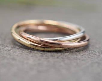Mixed Metal Trinity Ring