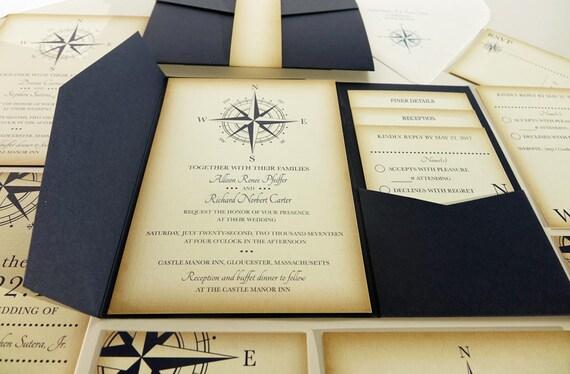 Sailboat Wedding Invitations: Vintage Compass Wedding Invitation Navy Blue Nautical Blue