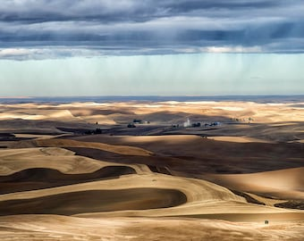 Pacific Northwest Landscape | The Palouse | Steptoe Butte | Rural Photography | Weather | Country Rolling Hills | Neutral Rustic Decor