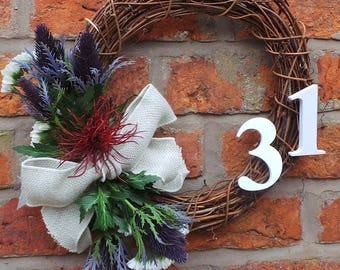 Beatrice: Handsome Floral Door Decoration on a Natural Grapevine Wreath - Easily personalised with your house name, number or ribbons